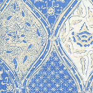 6630CU-02 BALINESE BATIK French Blue Cream on White Quadrille Fabric