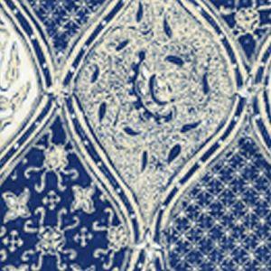 6630CU-08 BALINESE BATIK Navy Cream on White Quadrille Fabric