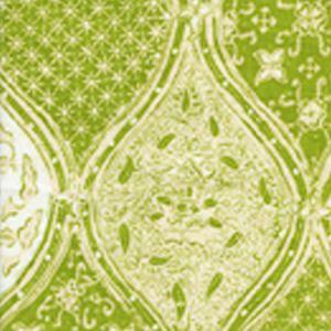 6630CU-03 BALINESE BATIK New Green Cream on White Quadrille Fabric