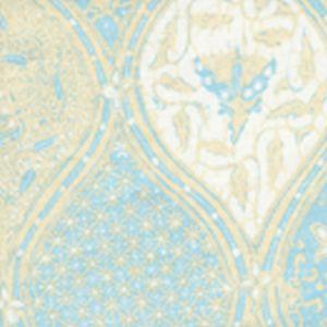 6630CU-01 BALINESE BATIK New Blue Cream on White Quadrille Fabric