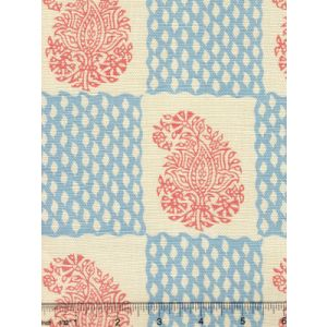 5090-05 BANGALORE New Shrimp New Blue  on Tint Quadrille Fabric