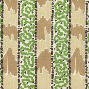5060-12 BIJOU STRIPE Brown Beige Green Taupe Quadrille Fabric