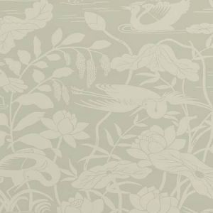 BW45089-3 HERON & LOTUS FLOWER Aqua GP & J Baker Wallpaper