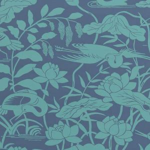 BW45089-4 HERON & LOTUS FLOWER Teal Blue GP & J Baker Wallpaper