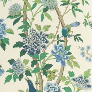 BW45091-1 HYDRANGEA BIRD Emerald Blue GP & J Baker Wallpaper