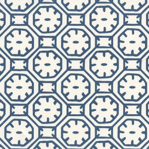 8150WP-10 CEYLON BATIK Navy On Almost White Quadrille Wallpaper