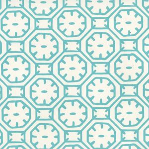 8150WP-01 CEYLON BATIK Turquoise On Almost White Quadrille Wallpaper