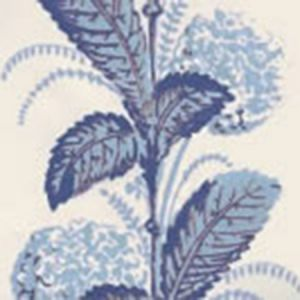 303303WP CLIMBING HYDRANGEA French Blue On Almost White Quadrille Wallpaper