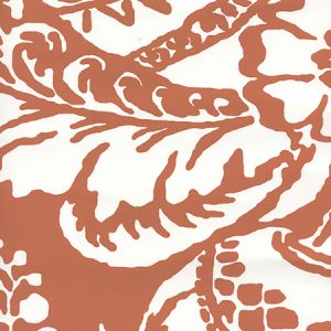 CP1040W-04 ANTOINETTE Burnt Orange On White Quadrille Wallpaper