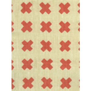 4130-09 CROSS CHECK New Shrimp on Tint Quadrille Fabric