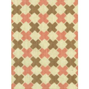 4120-02 DOUBLE CROSS Camel with Pink Quadrille Fabric