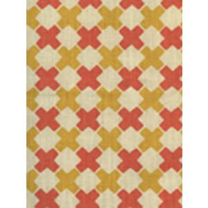 4120-04 DOUBLE CROSS Inca Gold with New Shrimp Quadrille Fabric