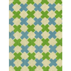 4120-03 DOUBLE CROSS New Blue with Jungle Green Quadrille Fabric