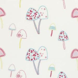F0671/01 TOADSTOOLS Pink Clarke & Clarke Fabric
