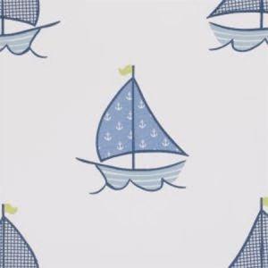 F0674/01 SAILING BOATS Blue Clarke & Clarke Fabric