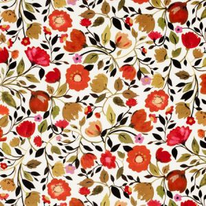 F0828/01 RED TULIPS VELVET Autumn Clarke & Clarke Fabric