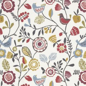 F0990/03 FOLKI Indigo Cranberry Clarke & Clarke Fabric