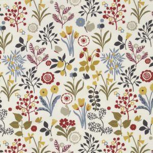 F0991/03 FRIDA Indigo Cranberry Clarke & Clarke Fabric