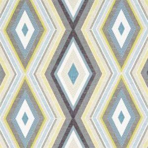 F1067/01 TERRAZZO Charcoal Chartreuse Clarke & Clarke Fabric