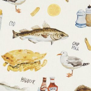 F1260/01 CHIP SHOP Cream Clarke & Clarke Fabric