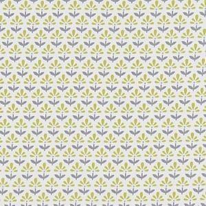 F1373/03 FLEUR Chartreuse Charcoal Clarke & Clarke Fabric