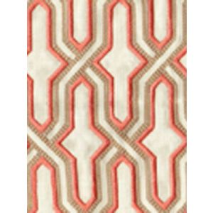 6300EM-20 GORRIVAN FRETWORK Salmon Taupe Custom Only Quadrille Fabric