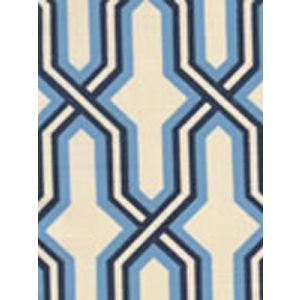 6300-11 GORRIVAN FRETWORK French Blue and Navy Custom Only Quadrille Fabric