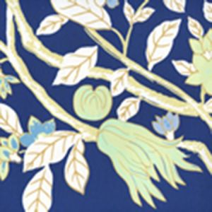 306068W HAPPY GARDEN Navy On White Quadrille Wallpaper