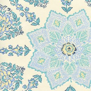 HC1490W-01WP PERSEPOLIS Celeste Blue On Off White Quadrille Wallpaper