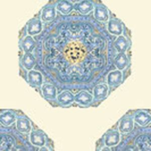 HC1700W-01WP MEDALLION Celeste Blue On Cream Quadrille Wallpaper