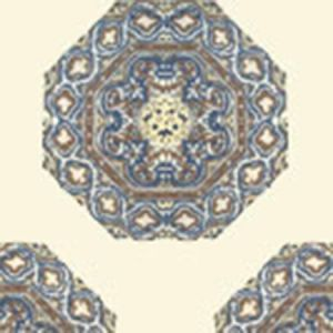 HC1700W-04WP MEDALLION Brown Navy On Cream Quadrille Wallpaper