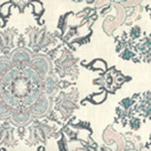 HC1980W-04AWP ISFAHAN Multi Blues Pink Gold On Almost White Quadrille Wallpaper