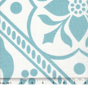 HC1460W-01 GLOUCHESTERSHIRE Turquoise on White Quadrille Fabric