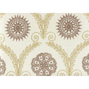 HC1310-06 JEANNE ALL OVER Gold Metallic Tobacco  Quadrille Fabric