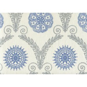HC1310-03 JEANNE ALL OVER Silver Metallic Blue Quadrille Fabric