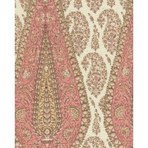 HC1950C-06 KASHMIR PAISLEY LARGE Pink on Cream Linen Quadrille Fabric