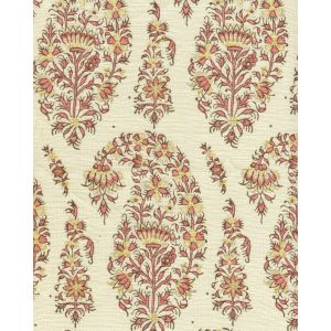 HC1955C-06 KASHMIR PAISLEY Pink on Cream Linen Quadrille Fabric