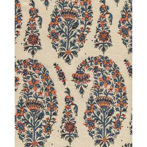 HC1955T-12 KASHMIR PAISLEY Red Navy Blue Gold on Tan Linen  Quadrille Fabric
