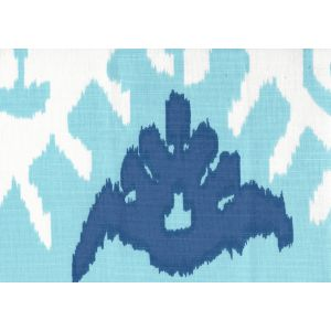302830C-07W KAZAK Aqua Royal Blue on White Quadrille Fabric
