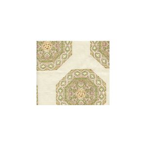 HC1700C-02 MEDALLION  Fig Taupe on Cream Quadrille Fabric