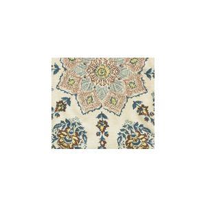 HC1490F-04 PERSEPOLIS Brown Blue on Flax Quadrille Fabric