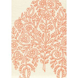 HC1480C-06 TAJ Melon on Cream Linen Quadrille Fabric