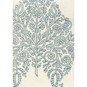 HC1480C-03 TAJ Navy on Cream Linen Quadrille Fabric