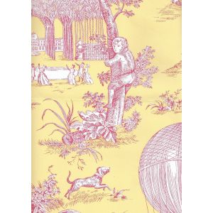 2232-207 BALLON DE GONESSE TOILE Fuschia Citron Quadrille Wallpaper
