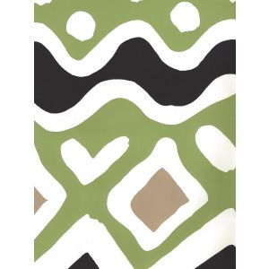 AP103-19 CAP FERRAT Jungle Green Taupe Black Quadrille Wallpaper