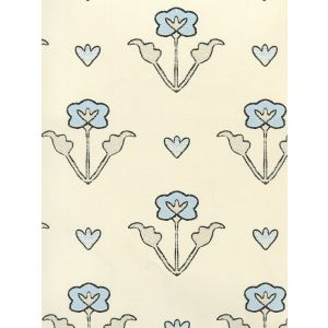 HC1995W-07OWP CLEMENTINE ALL OVER Charcoal Gray Blue On Off White Quadrille Wallpaper