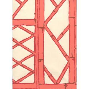 6020W-04 LYFORD TRELLIS Beige Tangerine Red Merlot On Cream Quadrille Wallpaper