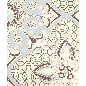 6430-15WP NEW BATIK Cloud Brown On Off White Quadrille Wallpaper