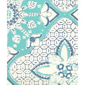 6430-03WP NEW BATIK Turquoise New Navy On Off White Quadrille Wallpaper