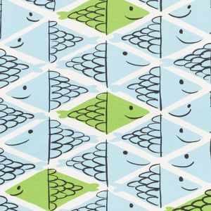 178211 FISH SCHOOL Aqua Leaf Schumacher Fabric